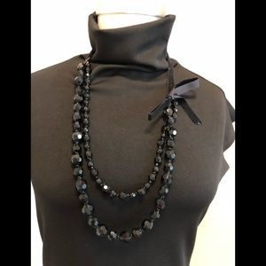 WHBM Black Bead Necklace